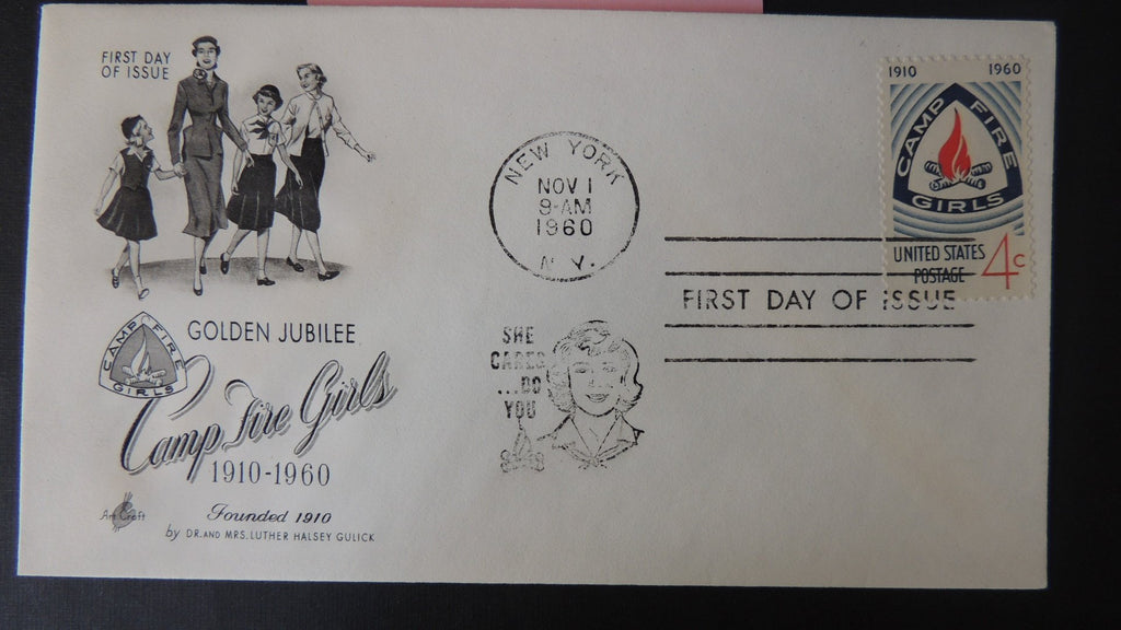 USA FDC 1960 golden jubilee camp fire girls women children good used