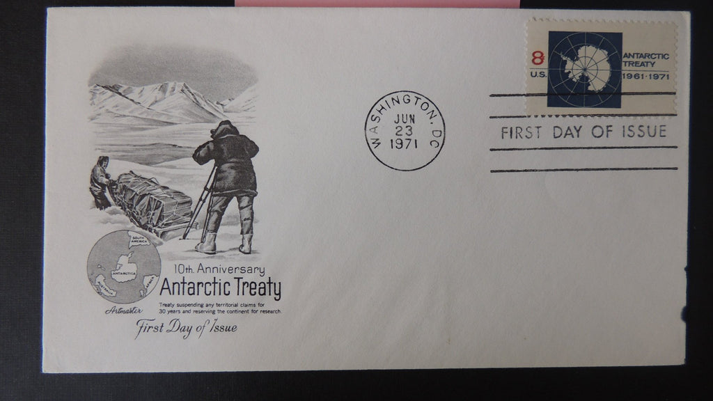 USA FDC 1971 artmaster antarctic treaty 10th anniversary maps sledges good used