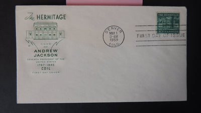 USA FDC 1959 4.5c coil stamp the hermitage buildings architecture postal andrew jackson good used