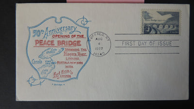 USA FDC 1977 50th anniversary peace bridge maps birds doves good used
