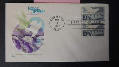 USA FDC 1977 50th anniversary peace bridge birds doves good used
