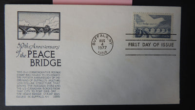 USA FDC 1977 50th anniversary peace bridge good used