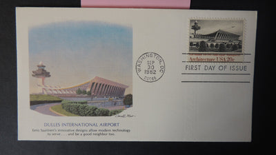 USA FDC 1982 fleetwood dulles international airport architecture aviation good used
