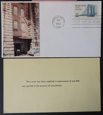 USA FDC 1983 brooklyn bridge civil engineering architecture good used
