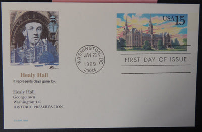 USA FDC 1989 stamped postal card 15c healy hall architecture good used