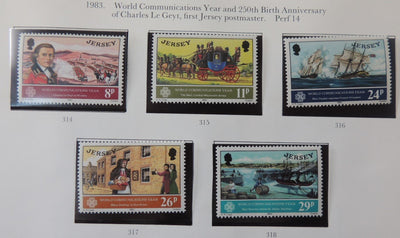 Jersey 1983 World Communications set of 5 values MNH