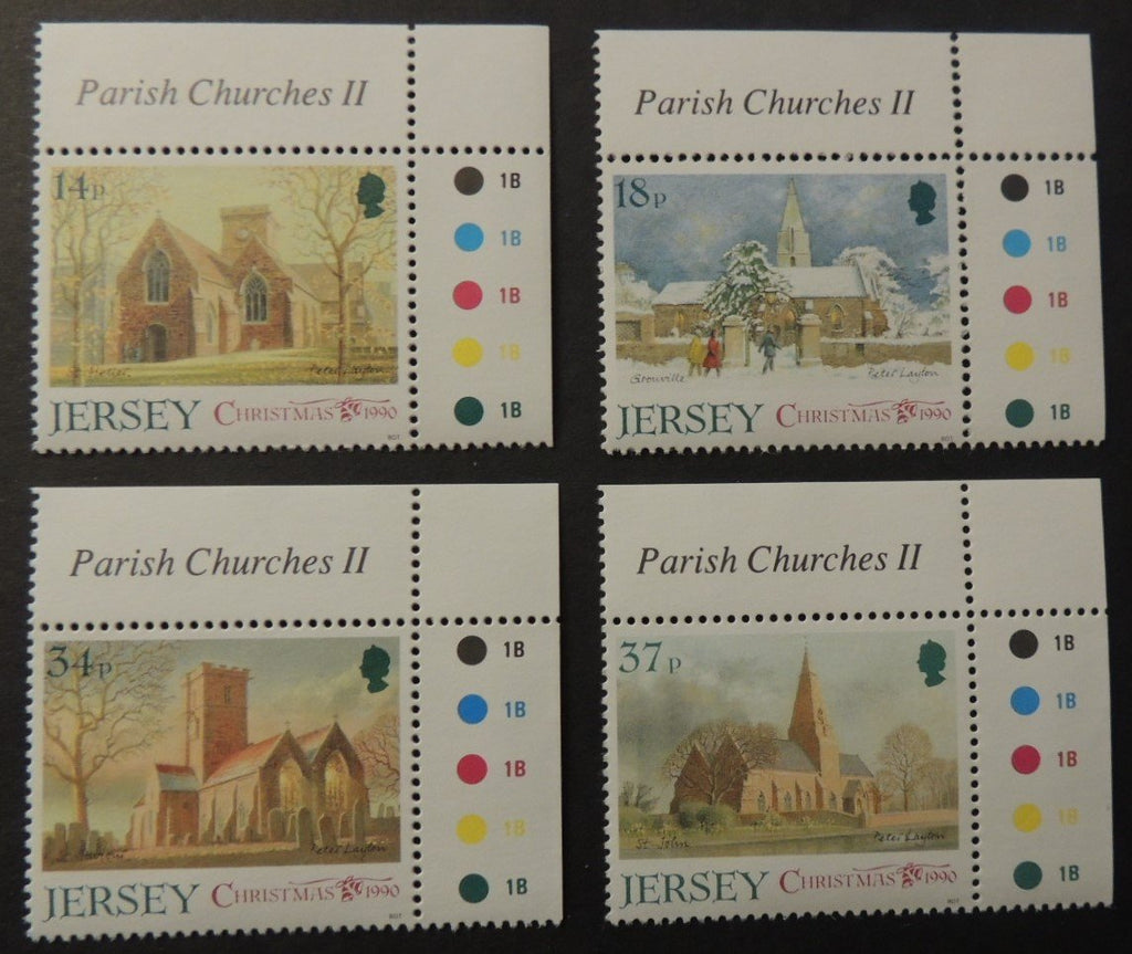 Jersey 1990 Christmas Parish Churches set of 4 values SG535-538 unmounted mint (see scan, these are the stamps you will receive)