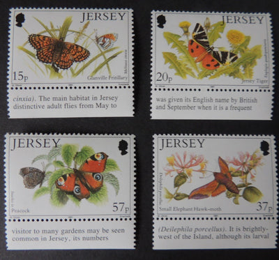 Jersey 1991 Butterflies and Moths set of 4 values SG554-557 u/m (see scan, these are the stamps you will receive)