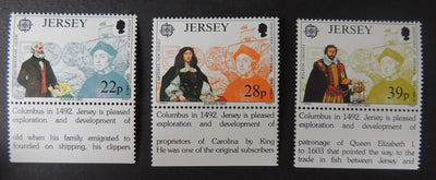 Jersey 1992 Europa  Discovery of America set of 3 values SG584-586 u/m (see scan, these are the stamps you will receive)