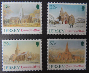 Jersey 1992 Christmas parish churches set of 4 values SG597-600 u/m (see scan, these are the stamps you will receive)