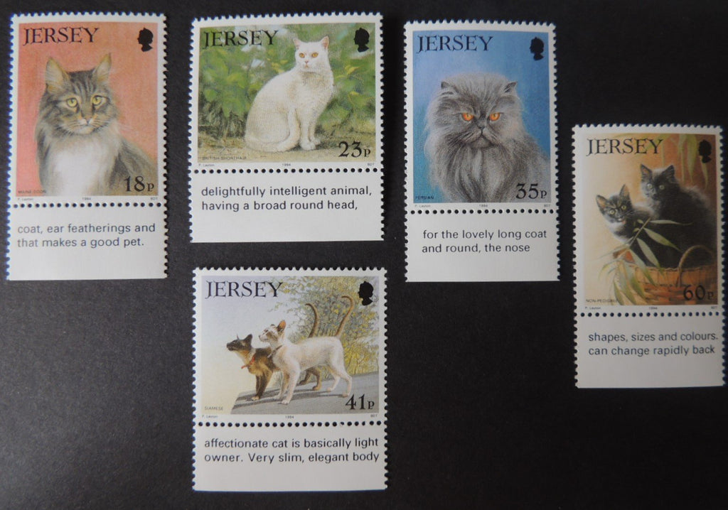 Jersey 1994 Cat Club set of 5 values SG650-654 u/m (see scan, these are the stamps you will receive)