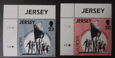 Jersey 1995 Europa Peace and Freedom set of 2 values SG698-699 u/m (see scan, these are the stamps you will receive)
