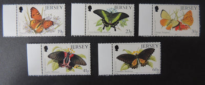 Jersey 1995 Butterflies set of 6 values SG717-721 u/m (see scan, these are the stamps you will receive)