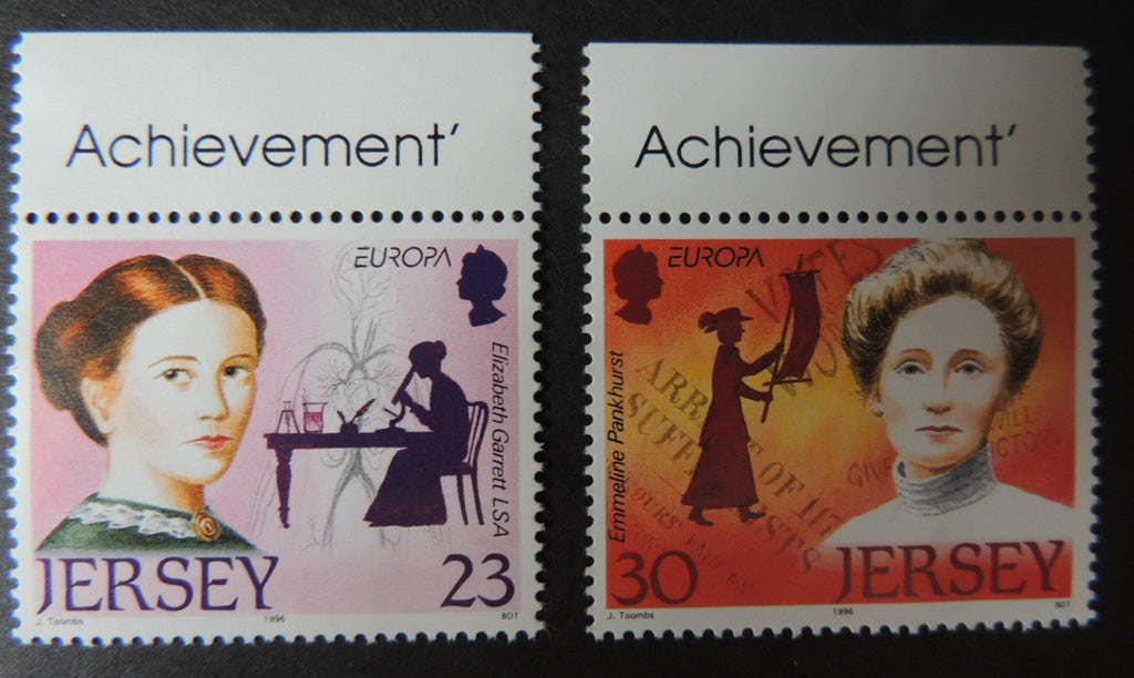 Jersey 1996 Europa Famous Women set of 2 values SG739-740 u/m (see scan, these are the stamps you will receive)