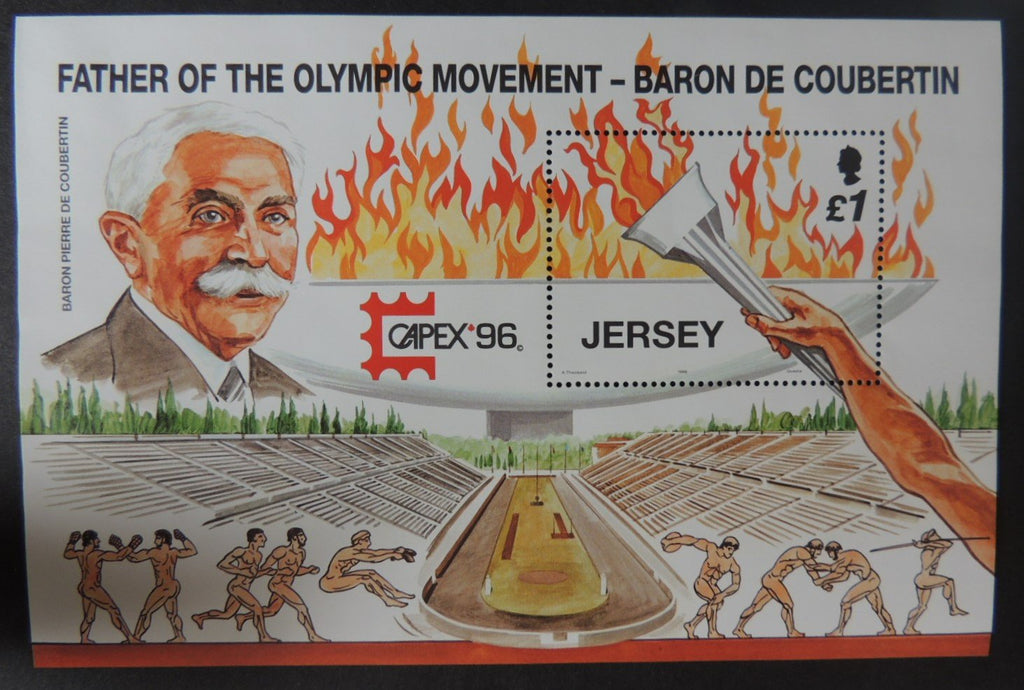 Jersey 1996 Olympics Capex '96' miniature sheet m/s SG751 u/m (see scan, these are the stamps you will receive)