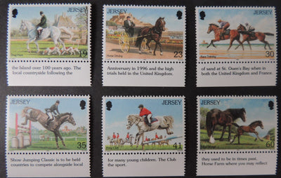 Jersey 1996 Horses set of 6 values SG758-763 u/m (see scan, these are the stamps you will receive)