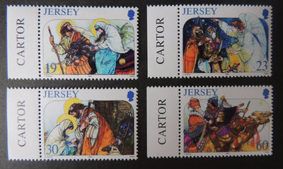 Jersey 1996 Christmas set of 4 values SG764-767 u/m (see scan, these are the stamps you will receive)