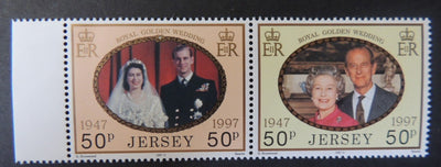 Jersey 1998 Golden Royal Wedding SG840-841 set of 2 values unmounted mint (see scan, these are the stamps you will receive)