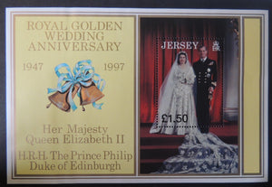 Jersey 1998 Golden Royal Wedding miniature sheet m/s MS842 1 value £1 unmounted mint (see scan, these are the stamps you will receive)