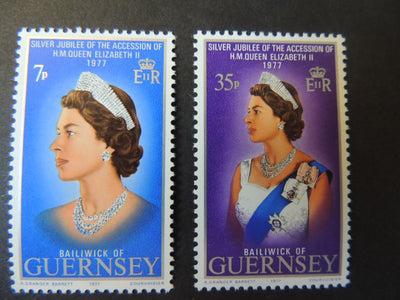 GUERNSEY 1977 SILVER JUBILEE SG149-150 MNH SET 2 VALUES