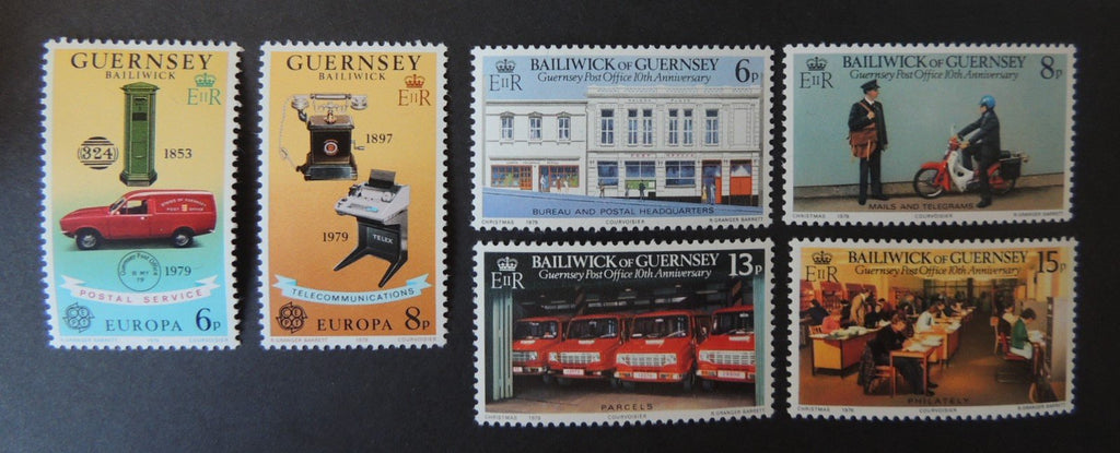 GUERNSEY 1979 EUROPA COMMUNICATIONS (2 VALUES, SG201-202) AND POSTAL ADMINISTRATION (4 VALUES, SG207-210) MNH