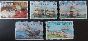 GUERNSEY 1990 250th ANNIVERSARY OF ANSONS CIRCUMNAVIGATION SG496-500 MNH SET 5 VALUES