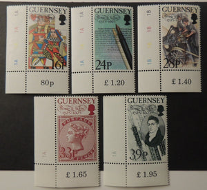 GUERNSEY 1993 BIRTH CENTENARY THOMAS DE LA RUE SG617-621 MNH 5 VALUES