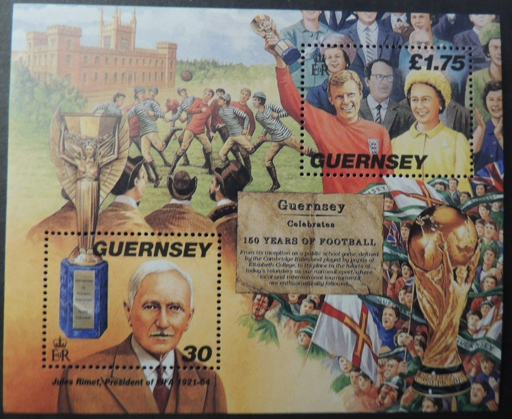 GUERNSEY 1998 150th ANNIVERSARY CAMBRIDGE RULES FOOTBALL MINIATURE SHEET MS780 MNH 2 VALUES