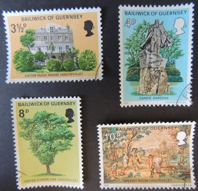 GUERNSEY 1975 VICTOR HUGO'S EXILE SET OF 4 VFU