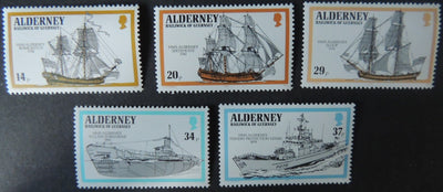 ALDERNEY 1990 ROYAL NAVY SHIPS SET OF 5 VALUES MNH A42-A46