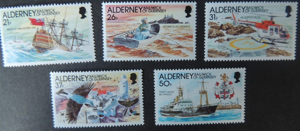 ALDERNEY 1991 CASQUETS LIGHTHOUSE SET OF 5 VALUES MNH A47-A51