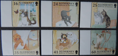 ALDERNEY 1996 CATS 6 VALUES MNH A90-A94