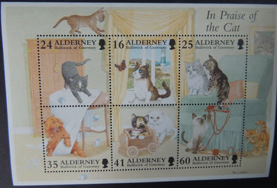 ALDERNEY 1996 CATS MINIATURE SHEET 6 VALUES MNH MSA95