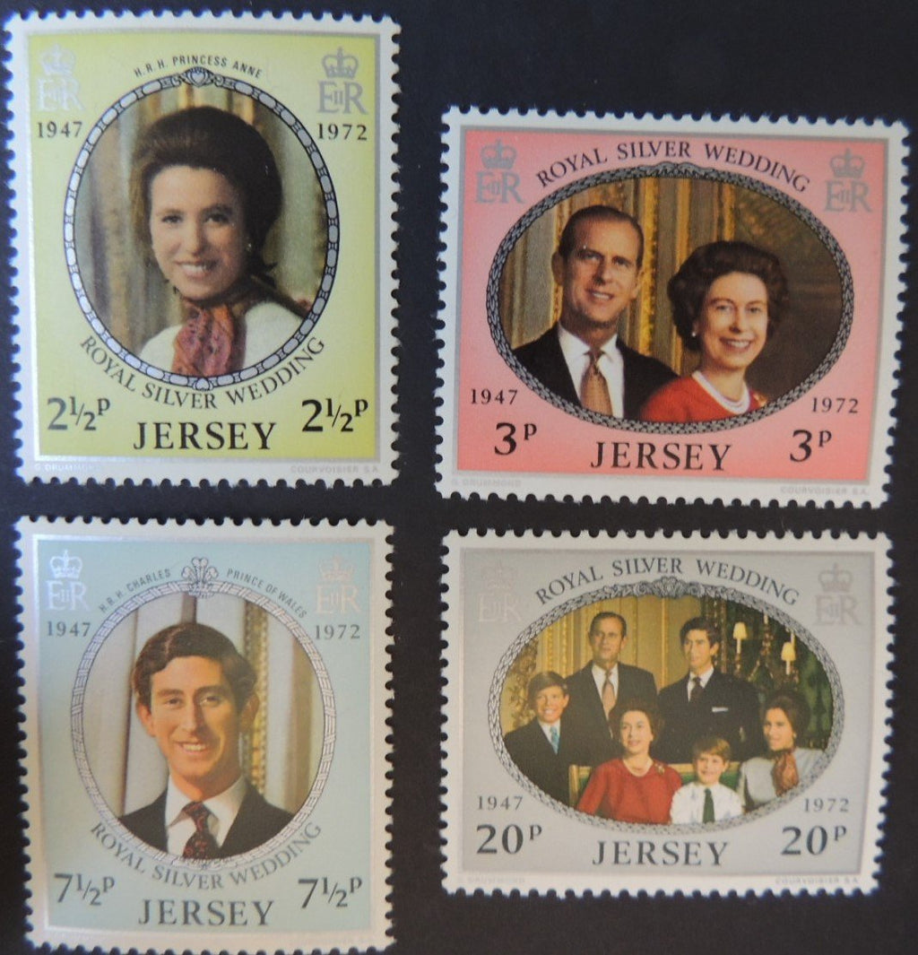 JERSEY 1972 SILVER WEDDING SET OF 4 VALUES SG81-84