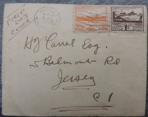 JERSEY 1943 occupation views Souvenir FDC 2 values 1 1/2d and 2d