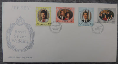 JERSEY 1973 Royal Silver Wedding FDC 4 values