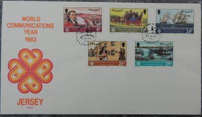 Jersey 1983 World Communications FDC 5 values