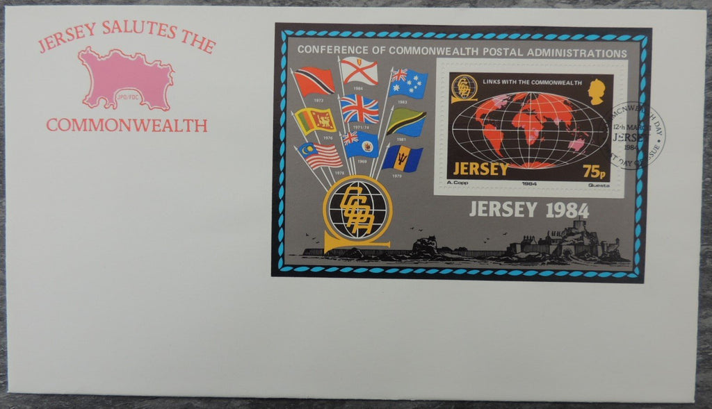 Jersey 1984 Links with the commonwealth FDC miniature sheet