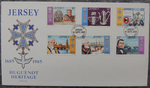 Jersey 1985 Huguenot FDC 6 values