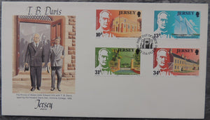Jersey 1985 T.B. Davies memorial FDC 4 values