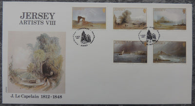 Jersey 1987 Christmas paintings by John Le Capelain FDC 5 values