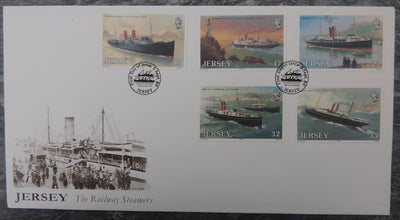 Jersey 1989 Steamers great western railway FDC 5 values