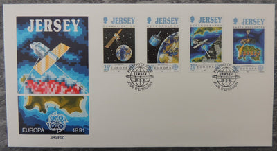 Jersey 1991 Europa Europe in Space FDC 4 values
