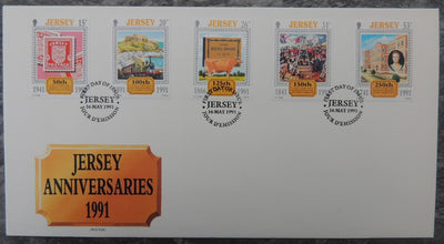 Jersey 1991 Europa Anniversaries FDC 5 values