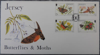 Jersey 1991 Butterflies and Moths FDC 4 values