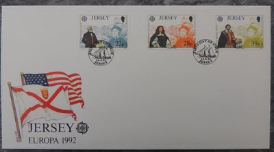 Jersey 1992 Europa  Discovery of America FDC 3 values