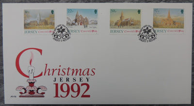 Jersey 1992 Christmas parish churches FDC 4 values
