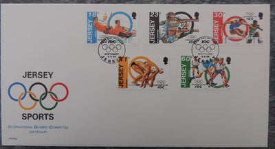 Jersey 1994 Olympic Centenary FDC 5 values
