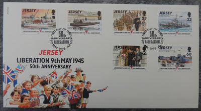 Jersey 1995 Liberation FDC 6 values