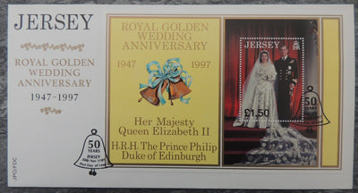 Jersey 1998 Golden Royal Wedding miniature sheet m/s 1 value £1 FDC